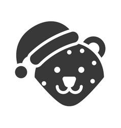 leopard wearing santa hat silhouette icon design vector image