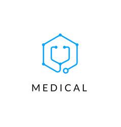 line medicine icon monochrome blue emblem logo vector image