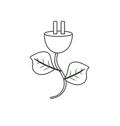 Line power cable with leaves to environment care vector