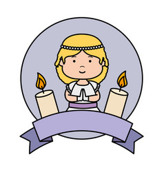 Little girl with ribbon and candles first vector