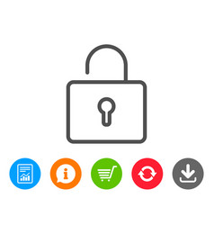 Lock line icon private locker sign vector
