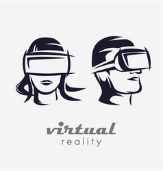 Mans and womans head in vr glasses icon stylized vector
