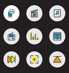 media icons colored line set with learning vector image