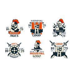 middle ages logo design collection medieval vector image