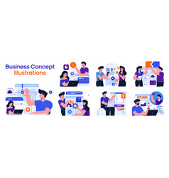Modern colorful business concept set 4 vector