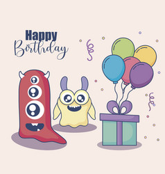 monsters with balloons helium and gift birthday vector image