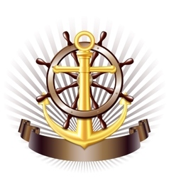 Nautical emblem with golden anchor vector image