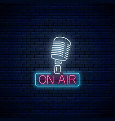 neon on the air sign with retro microphone vector image