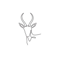 One single line drawing beauty antelope head vector