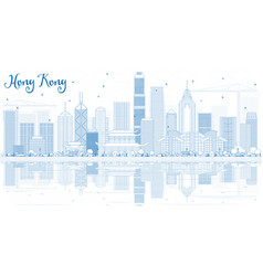 Outline hong kong skyline with blue buildings and vector