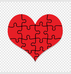 Red puzzle heart symbol isolated valentines day vector