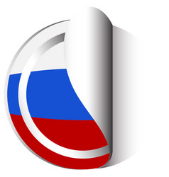 Russia flag for round sticker vector