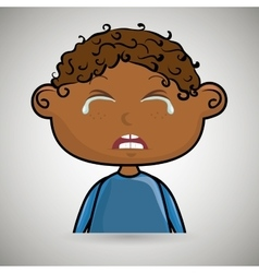 sad crying cartoon of little boy over white vector image