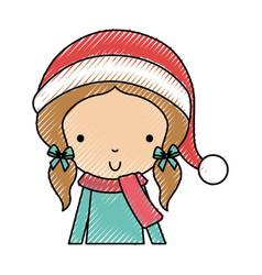 Scribble christmas upperbody little girl vector