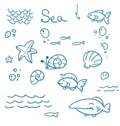 Sea icon set vector