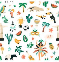 Seamless brazilian pattern with symbols brazil vector