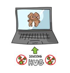 Sending virtual hug covid 19 crisis cute bunny on vector