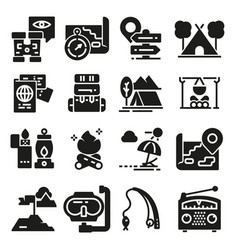 set icons and symbols for camping and hiking vector image