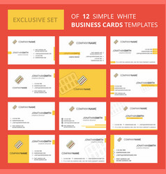 set of 12 tablets creative busienss card template vector image