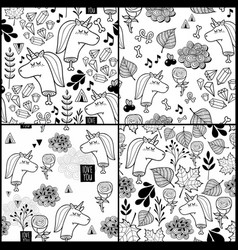 set of black and white patterns with dead unicorn vector image