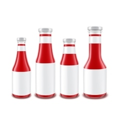Set of Glass Ketchup Bottles different Shapes vector