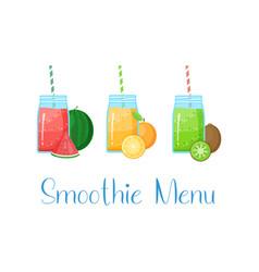 Set smoothie banner vitamin drink vector
