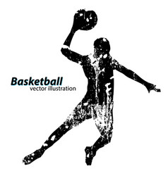 silhouette a basketball player vector image