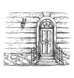 Sketch hand drawn old wooden door with porch vector