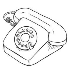 Sketch rotary retro phone vector