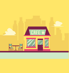 Small cafe building facade with outdoor seating on vector