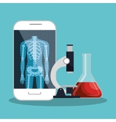 smartphone app microscope and test tube lab design vector image