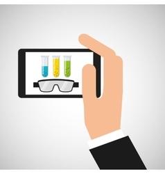 Smartphone test tube chemistry laboratory vector
