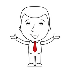 Smiling businessman line cartoon opens his arms vector