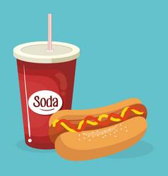 soda with hot dog fast food menu vector image