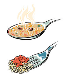 Spoon with steaming soup and a fork with the vector