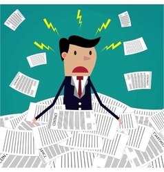 Stressed cartoon businessman in pile of papers vector image