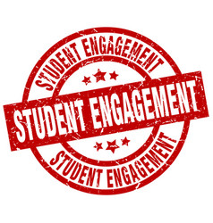 Student engagement round red grunge stamp vector