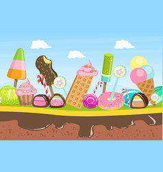 Sweet candy land fantasy landscape with desserts vector