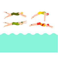 Swimming people style scheme different vector