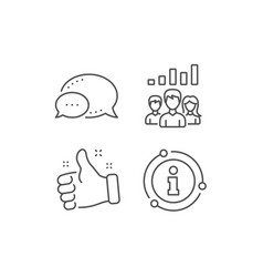 Teamwork results line icon group people vector
