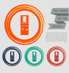 tetris icon on red blue green orange buttons vector image