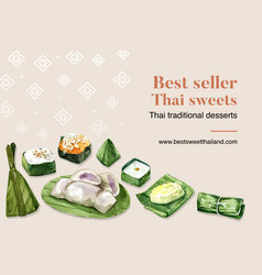 Thai sweet frame design with sticky rice pudding vector