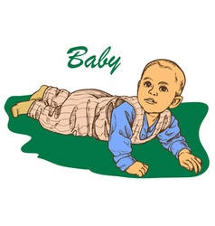 The baby crawls vector
