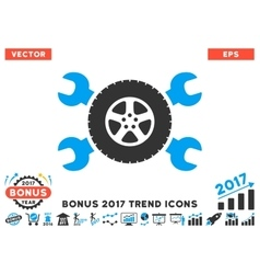 Tire Service Wrenches Flat Icon With 2017 Bonus vector image