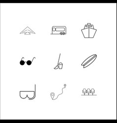 travel and tourism linear outline icons set vector image