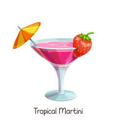 tropical martini with strawberries vector image