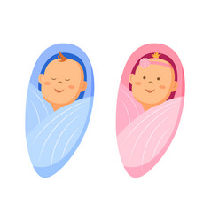 Two cute twin babies a baby girl and a baby boy vector
