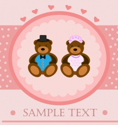 valentine bears greeting card vector image