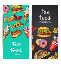 Vertical banners or flyers with fast food vector