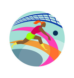 Volleyball player passing ball icon vector